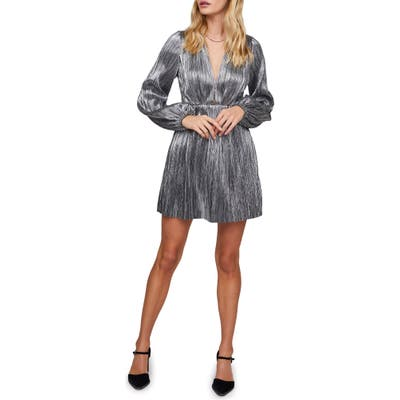 Astr The Label Supernova Metallic Long Sleeve Dress, Metallic