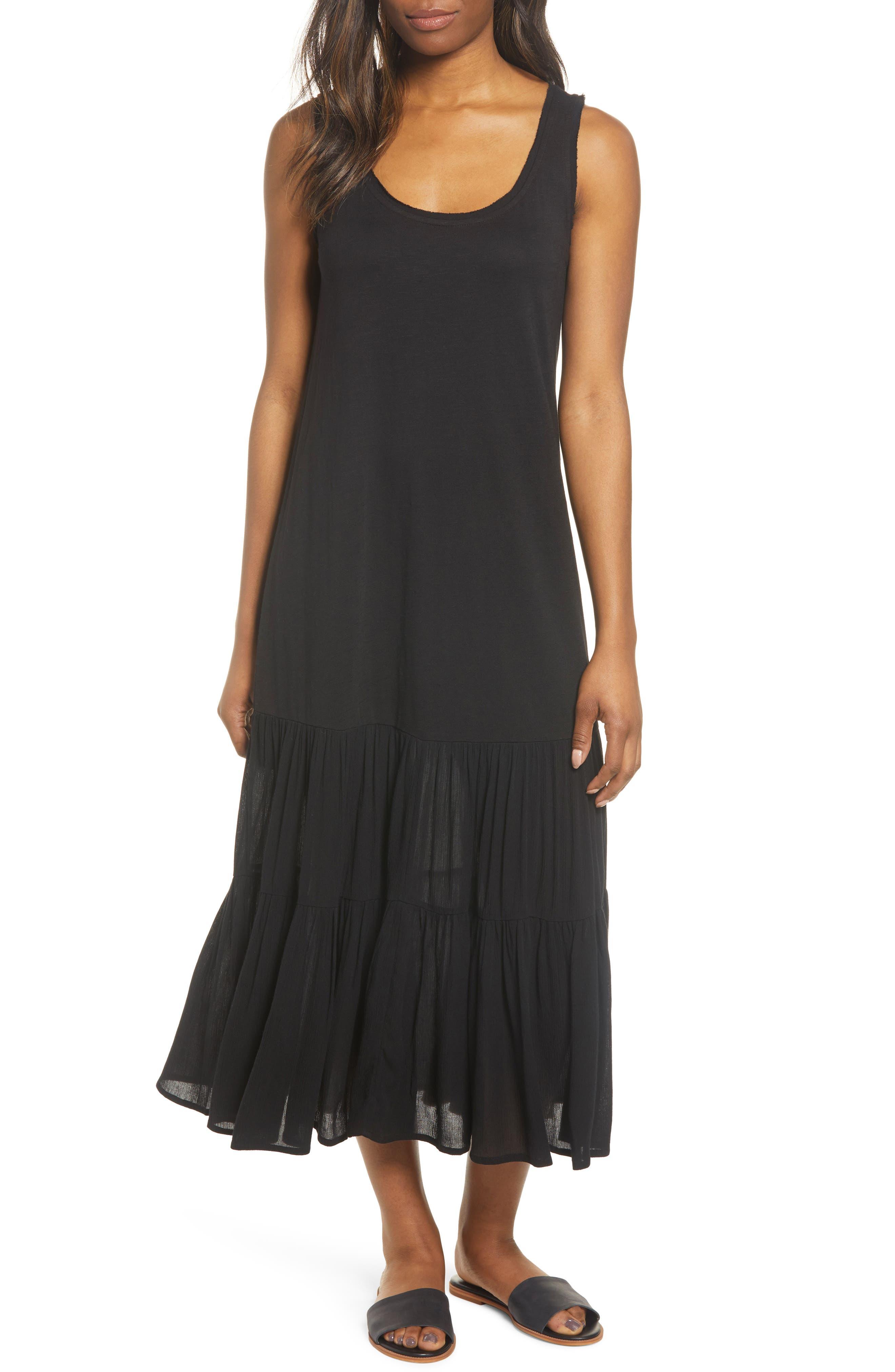 Petite Caslon Mixed Media Drop Waist Maxi Dress, Black