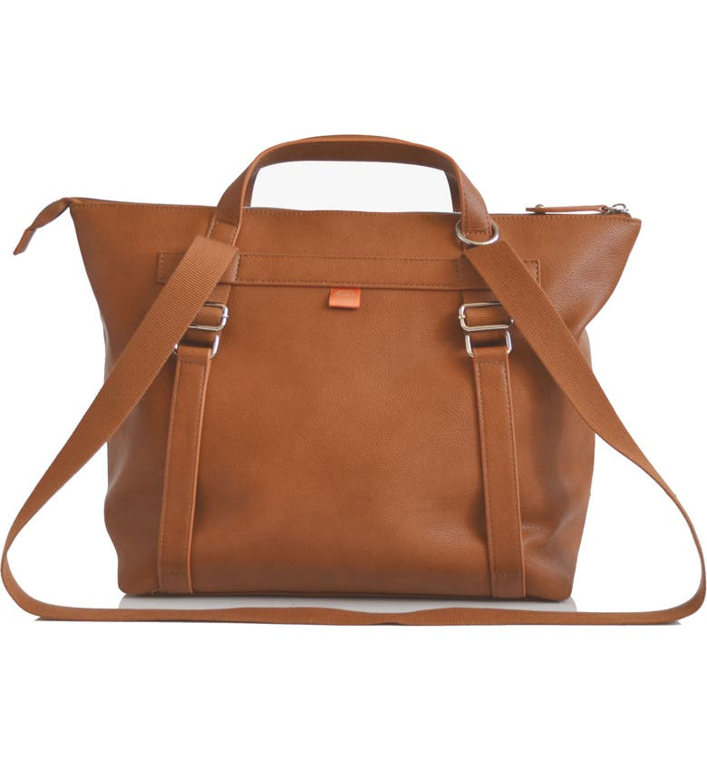 PACAPOD Saunton Faux Leather Convertible Diaper Backpack, Main, color, TAN