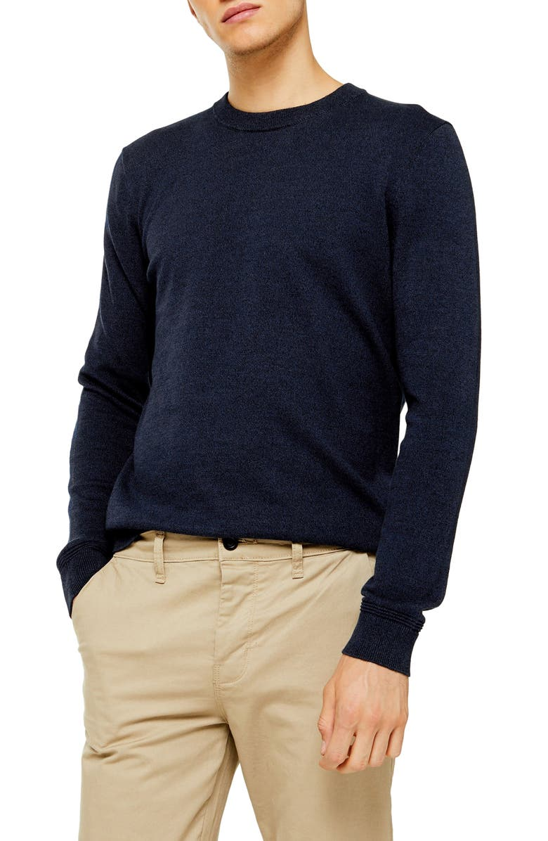 TOPMAN Twisted Classic Fit Crewneck Sweater, Main, color, NAVY BLUE