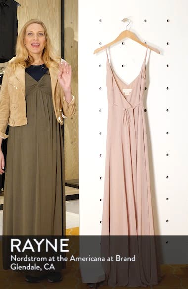 James Sleeveless Wrap Chiffon Evening Dress, sales video thumbnail