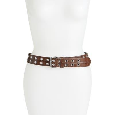 Allsaints Double Prong Eyelet Leather Belt, Cognac Croco