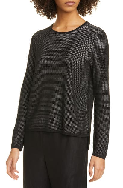EILEEN FISHER Cottons CREWNECK SILK BLEND TOP