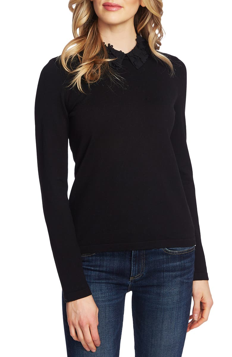 CECE Embellished Collar Sweater, Main, color, 002