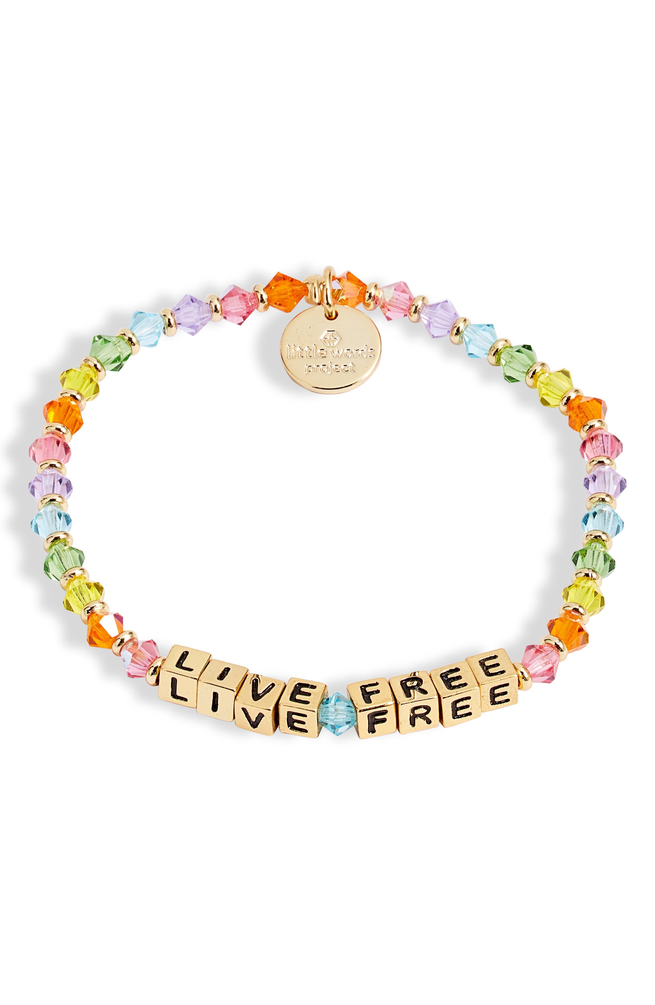 Live Free Beaded Stretch Bracelet
