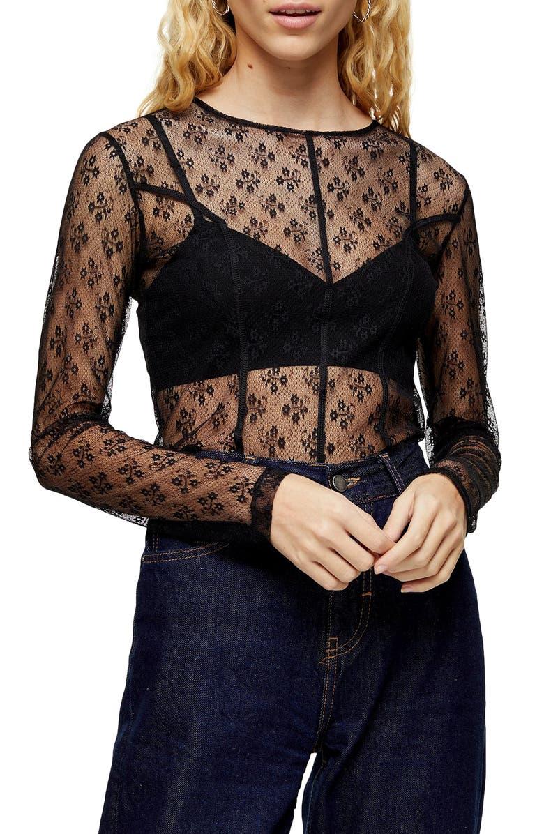 TOPSHOP Lace Seam Sheer Top, Main, color, BLACK