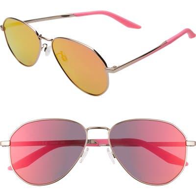 Nike Ascendant 57mm Mirrored Aviator Sunglasses - Rose Gold/ Pink/ Crimson Mirr