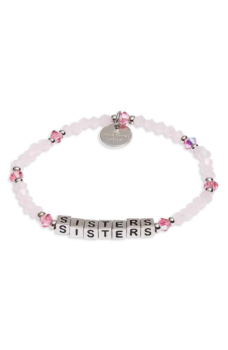 LITTLE WORDS PROJECT Sisters Beaded Stretch Bracelet, Main, color, PINK/ SILVER