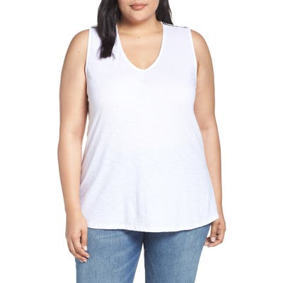 Plus Size Gibson X Hi Sugarplum! Malibu Embroidered Racerback Tank Top, White (Plus Size) (Nordstrom Exclusive)