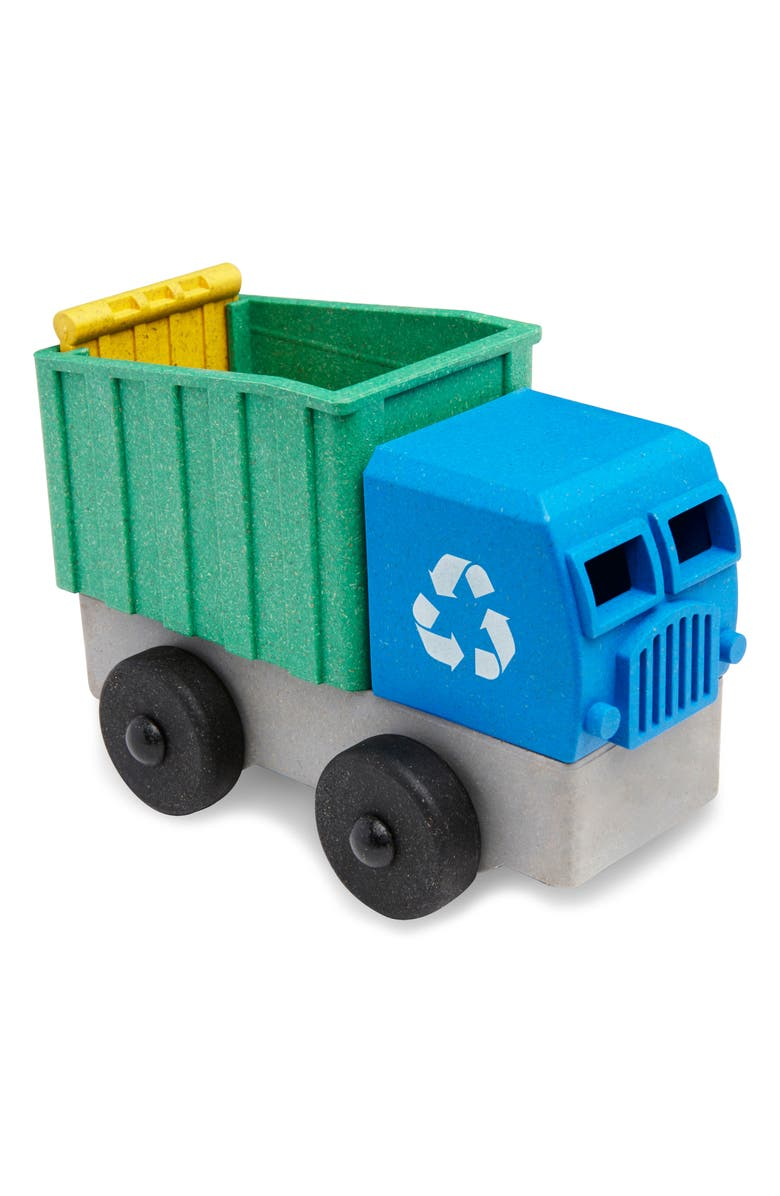 LUKE'S TOY FACTORY Educational 4-Piece Puzzle Recycling Truck Toy & Flash Card Set, Main, color, GREEN