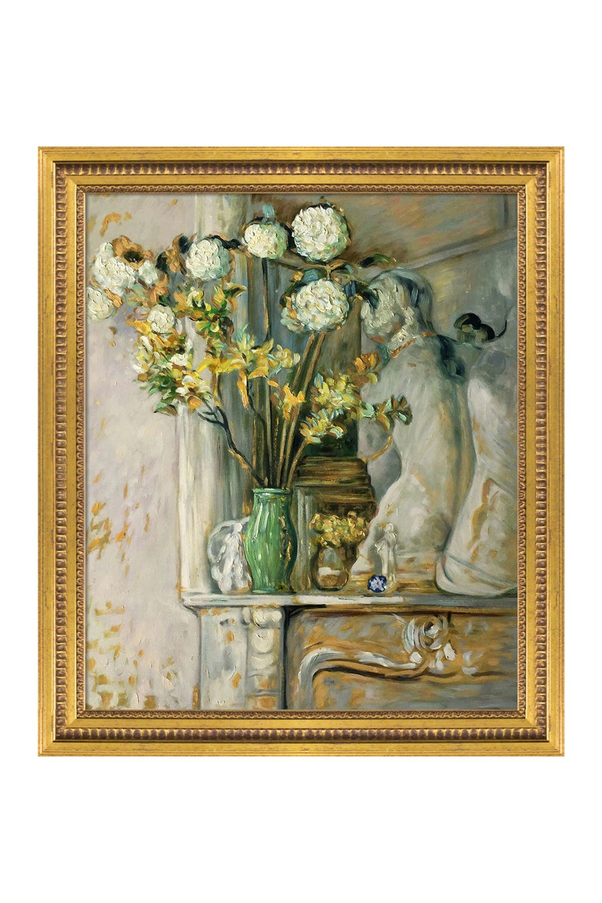 """Image of Overstock Art Guelder Roses & The Venus of Milo by Edouard Vuillard Framed Oil Painting Reproduction - 25"""" x 29"""""""