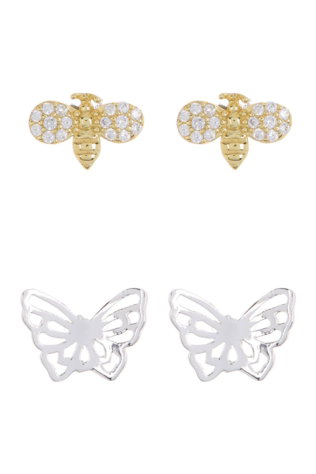 Image of Argento Vivo Two-Tone Bee & Butterfly Stud Earrings Set