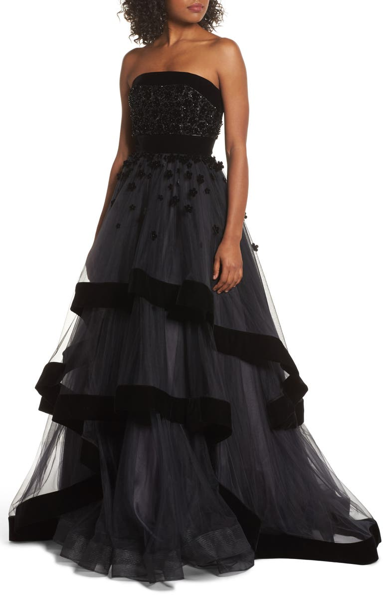 MAC DUGGAL Strapless Tiered Ballgown, Main, color, 001