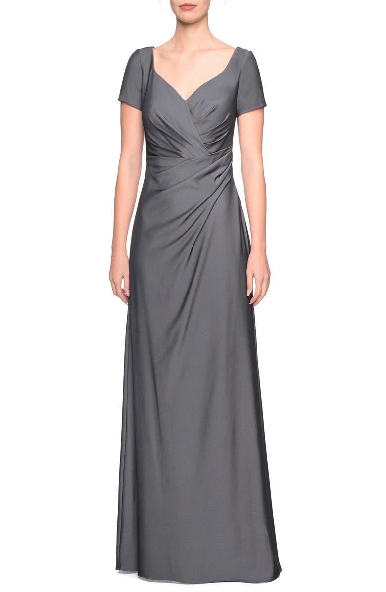 LA FEMME Sweetheart Neck Jersey Evening Dress, Main, color, GUNMETAL