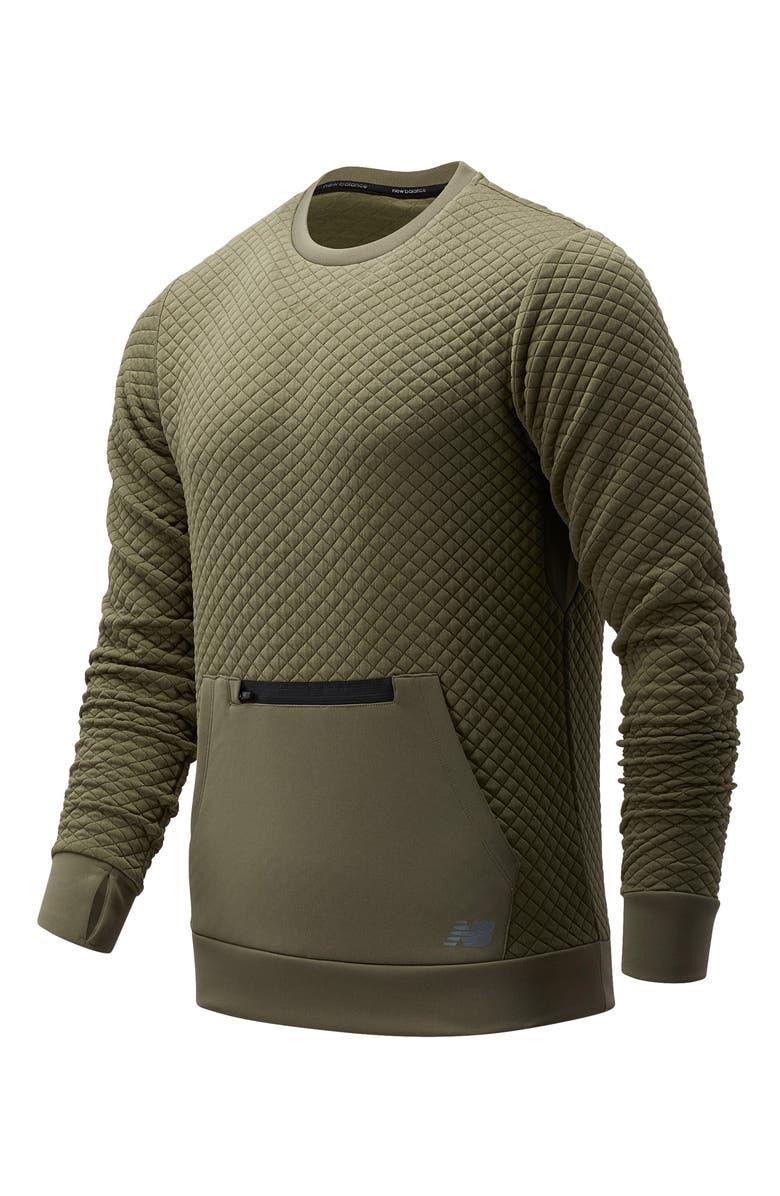 NEW BALANCE Heat Loft Quilted Crewneck Sweatshirt, Main, color, NETTLE GREEN