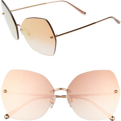Dolce & gabbana Lucia Mirrored Oversize Butterfly Sunglasses - Gold/ Pink Gradient Mirror