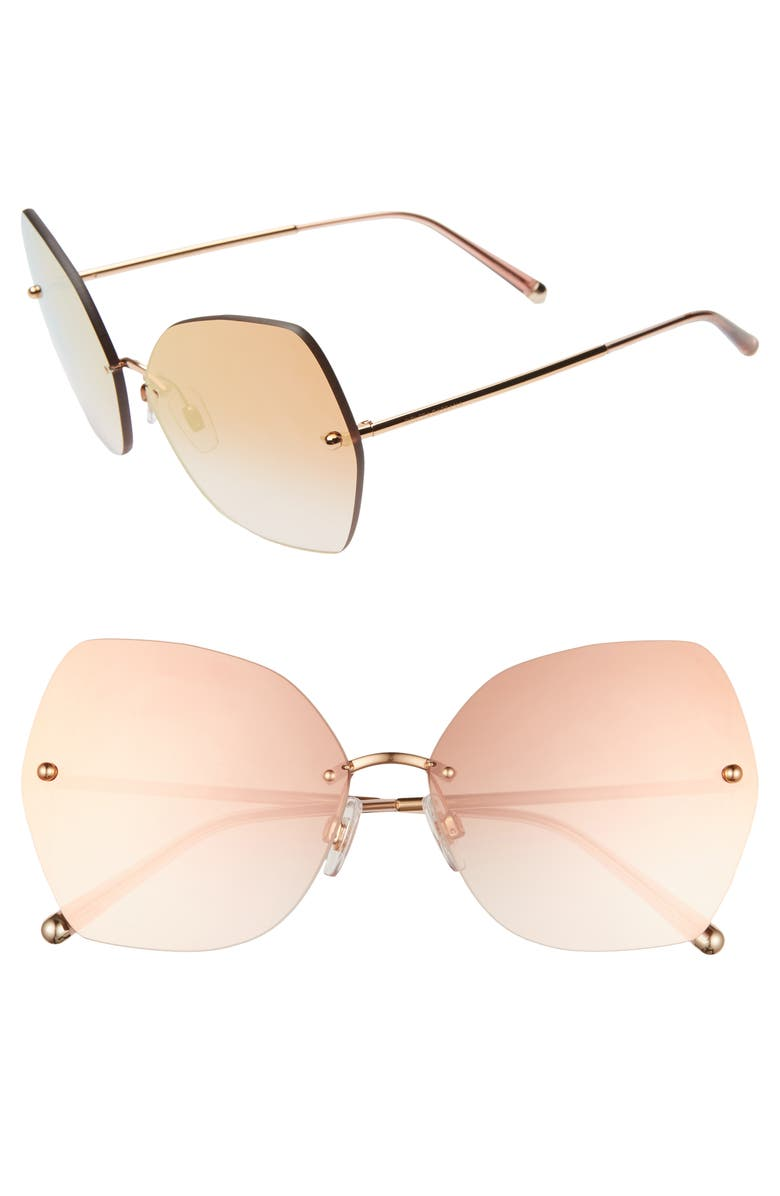 DOLCE&GABBANA Lucia 64mm Mirrored Oversize Butterfly Sunglasses, Main, color, GOLD/ PINK GRADIENT MIRROR