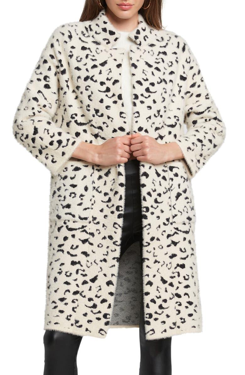 BARDOT Leopard Print Faux Fur Coat, Main, color, 001