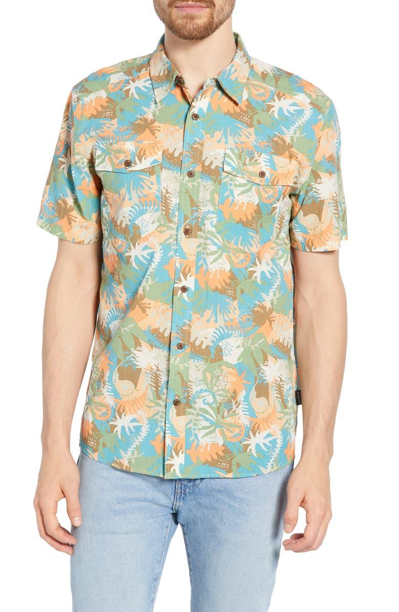 PATAGONIA Steersman Regular Fit Shirt, Main, color, WILD WARATAH MATCHA GREEN