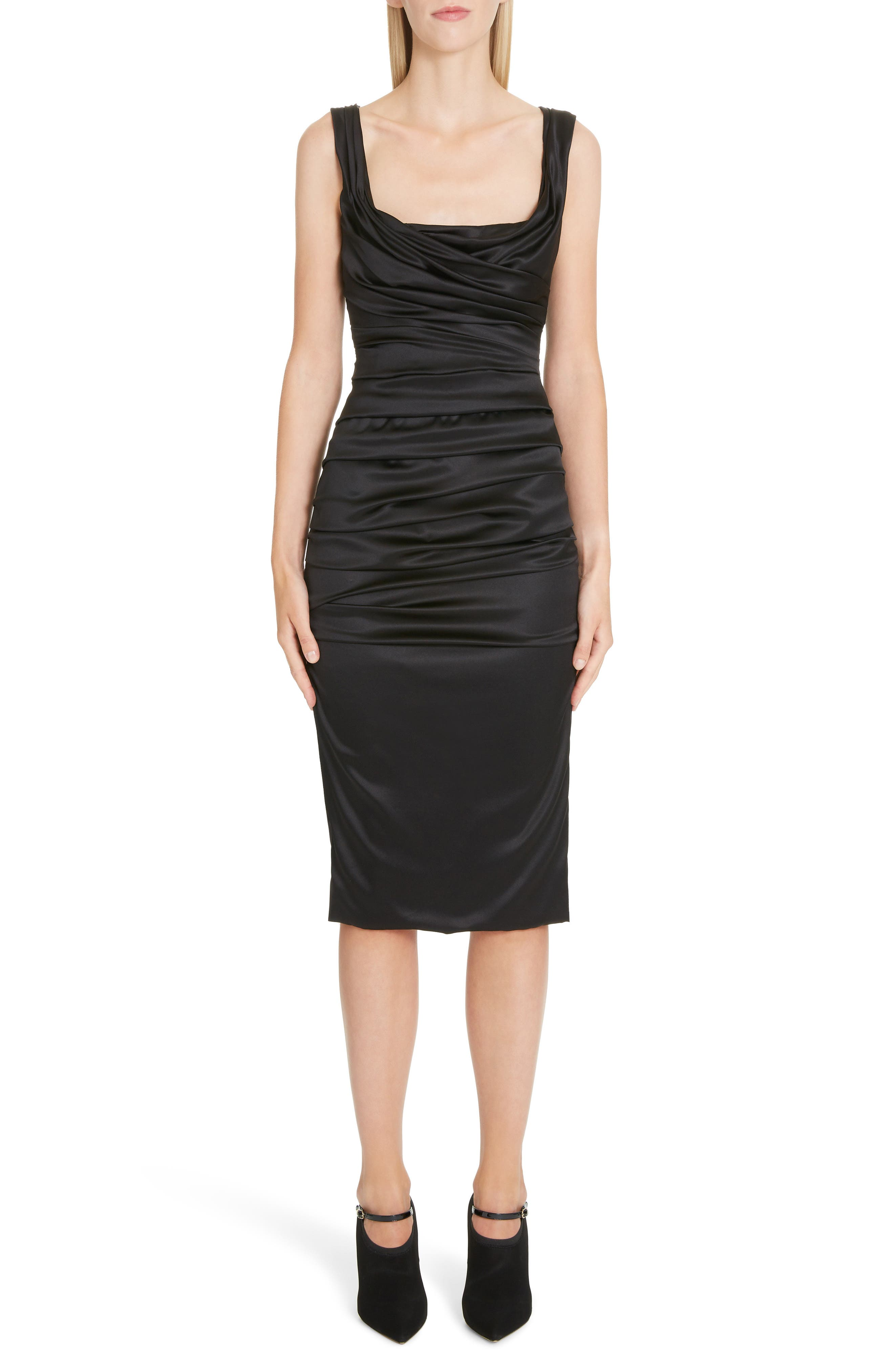 ,                             Ruched Stretch Silk Satin Body-Con Dress,                             Main thumbnail 1, color,                             BLACK