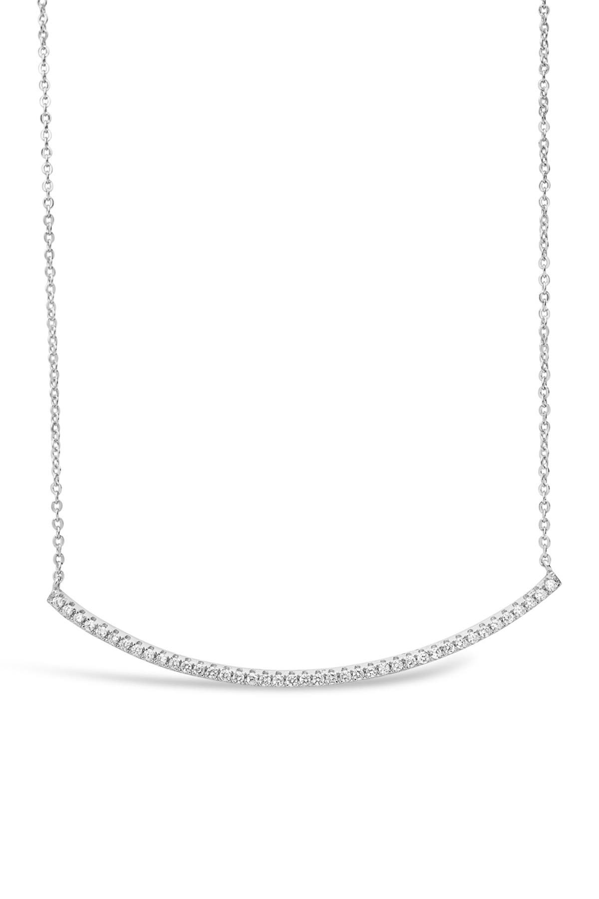 Image of Sterling Forever Rhodium Plated Brass CZ Curved Bar Necklace