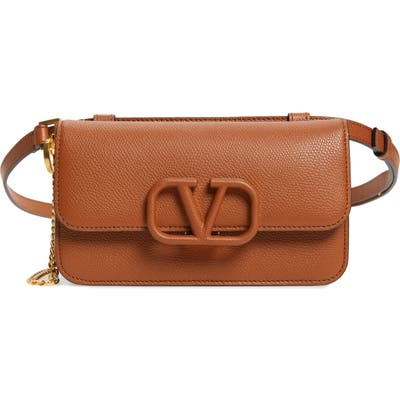 Valentino Garavani V-Sling Leather Belt Bag - Brown