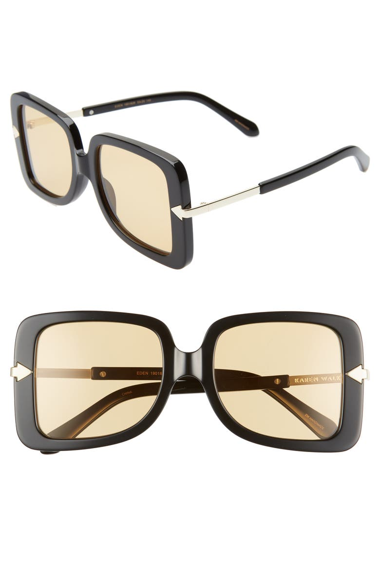 KAREN WALKER Eden 53mm Square Sunglasses, Main, color, 001