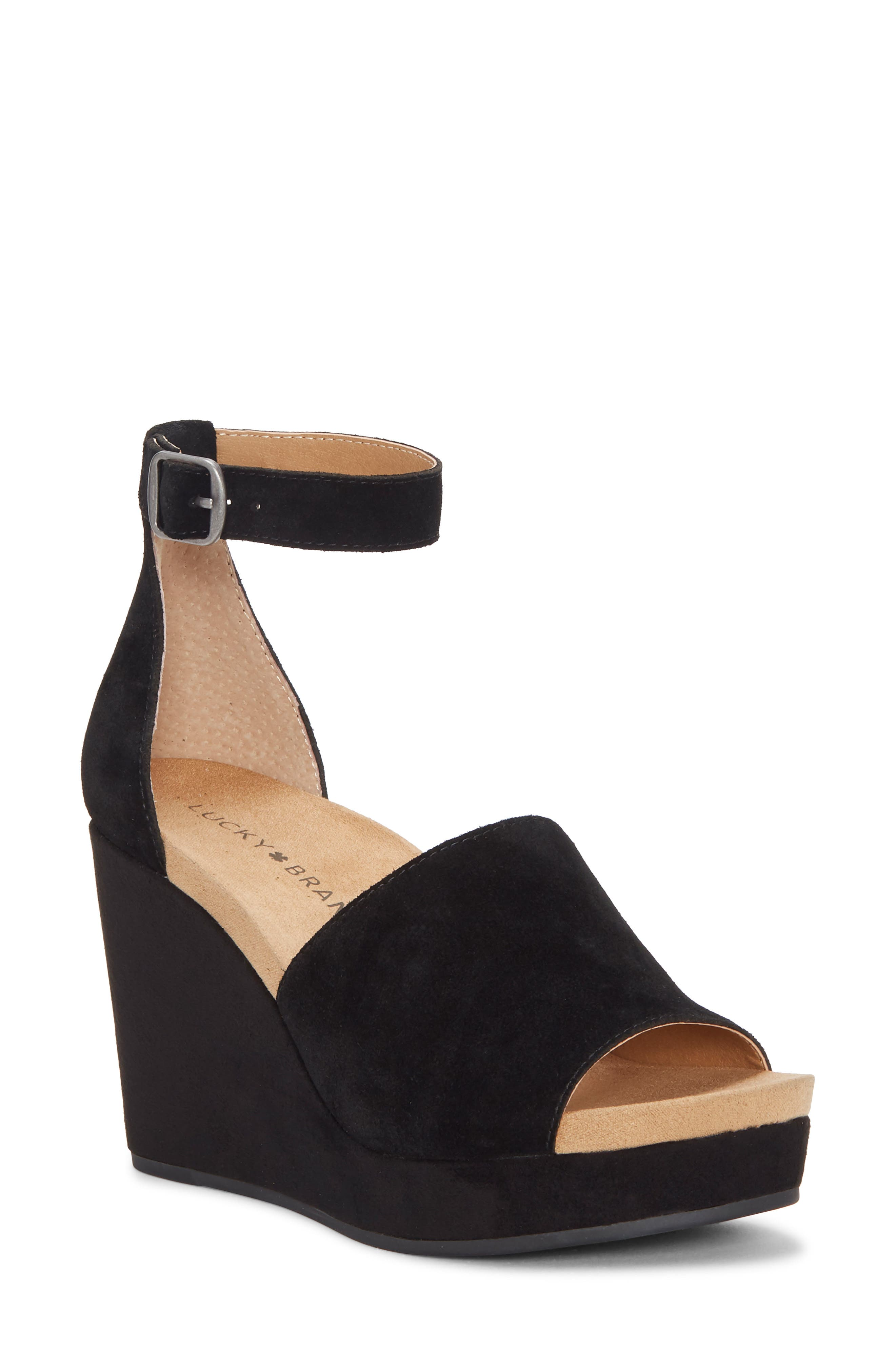 Yemisa Wedge Ankle Strap Sandal, Main, color, BLACK OILED SUEDE