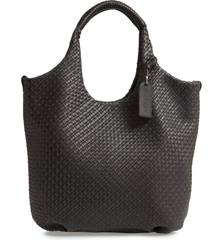 SOLE SOCIETY Ady Woven Faux Leather Tote, Main, color, 001