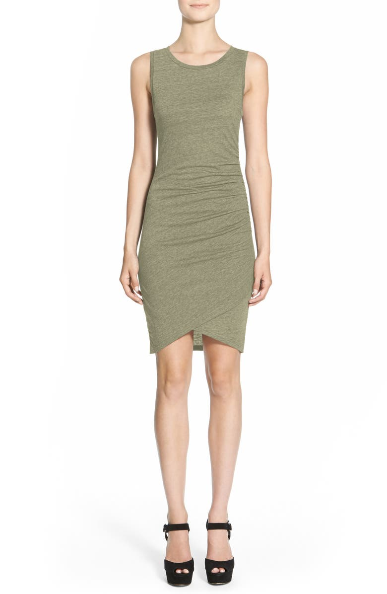 LEITH Ruched Body-Con Tank Dress, Main, color, OLIVE SARMA HEATHER