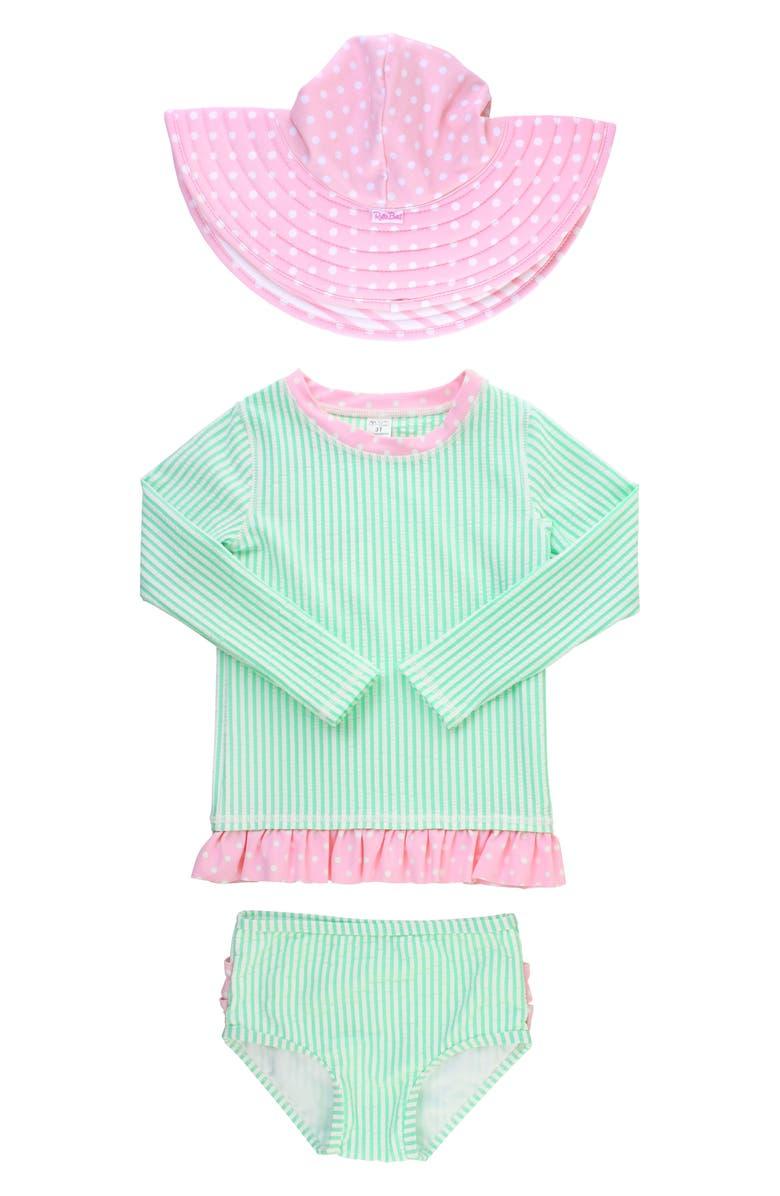 RUFFLEBUTTS Seersucker Two-Piece Rashguard Swimsuit & Hat Set, Main, color, MINT