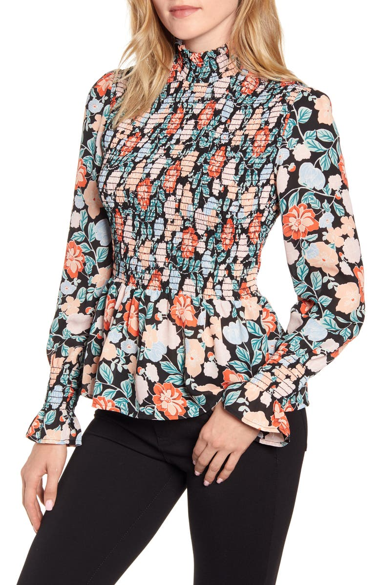 Smocked Peplum Blouse by Gibson