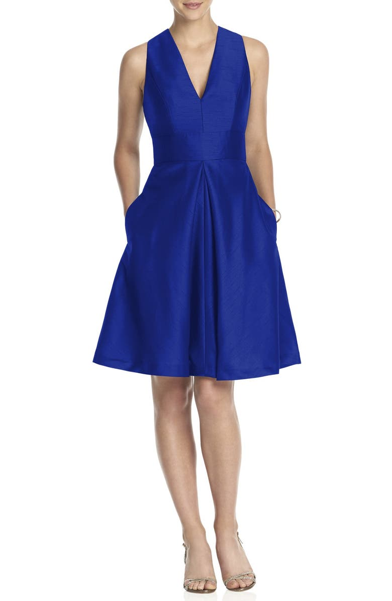 ALFRED SUNG V-Neck Dupioni Cocktail Dress, Main, color, 412