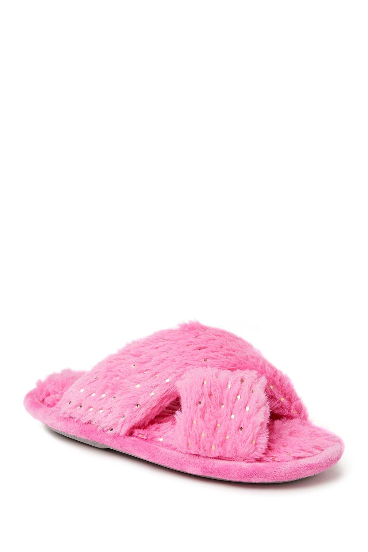 Image of Dearfoams Ava Faux Fur Sparkle Crossband Slipper