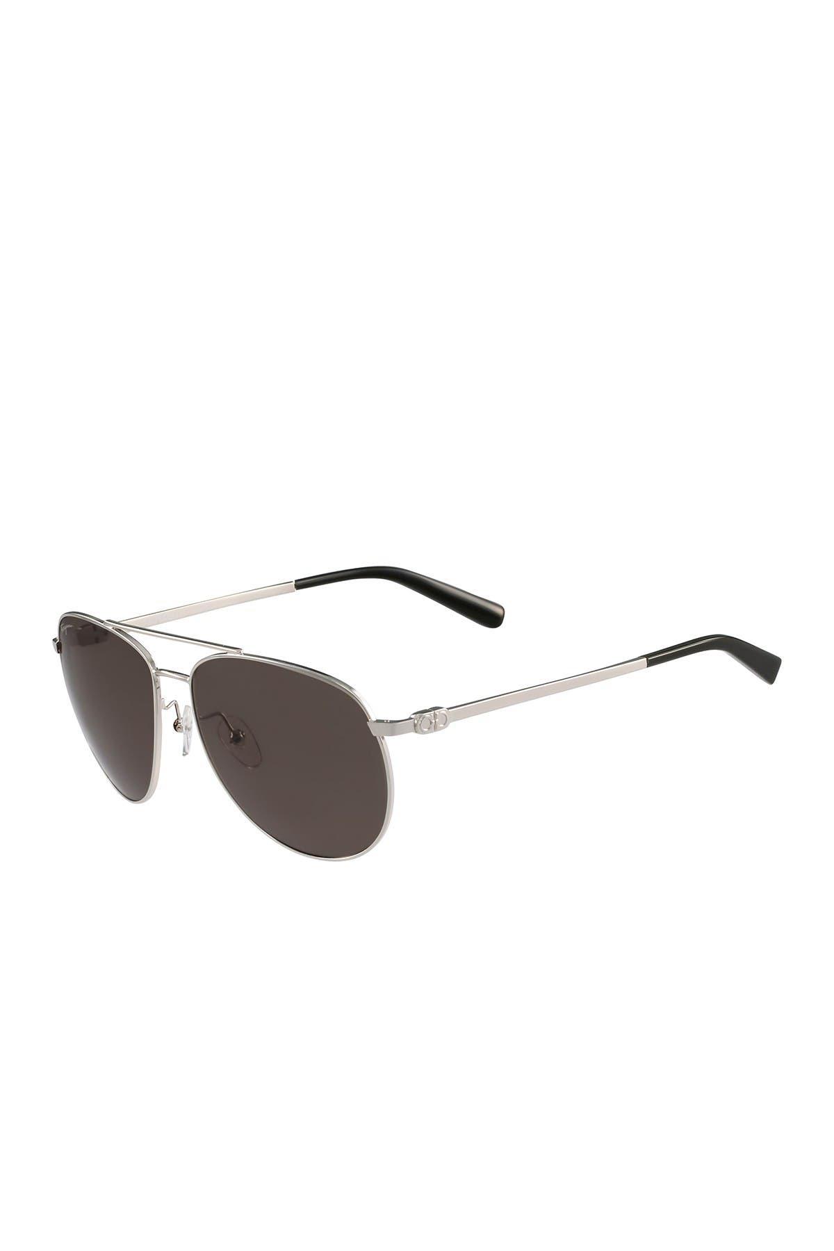 Image of Salvatore Ferragamo 60mm Aviator Sunglasses
