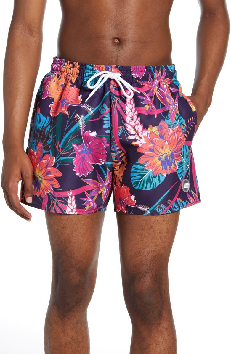 TOPMAN Floral Swim Trunks, Main, color, BLACK MULTI