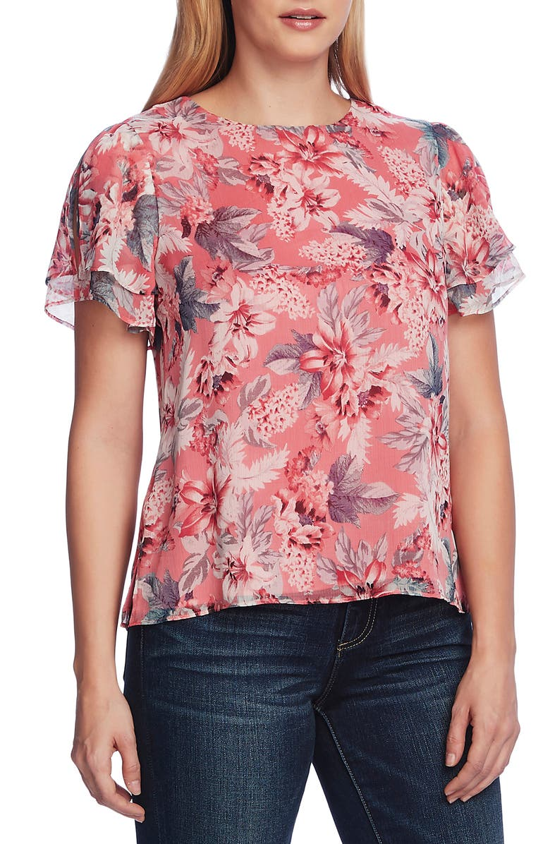 VINCE CAMUTO Romantic Lilies Double Ruffle Sleeve Blouse, Main, color, CORAL BLOS