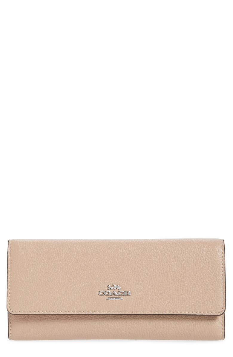 COACH Pebbled Leather Trifold Wallet, Main, color, LH/ TAUPE