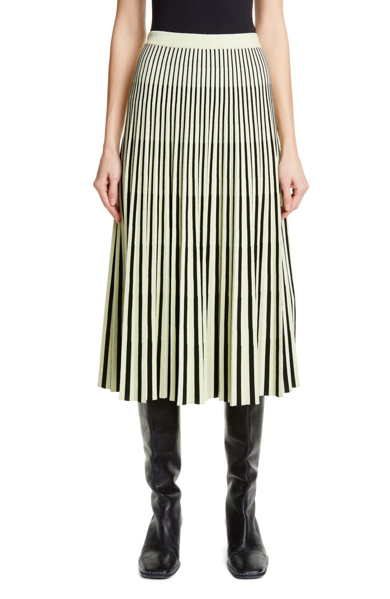 PROENZA SCHOULER Pleated Merino Wool Midi Skirt, Main, color, BLACK/ FADED NEON YELLOW
