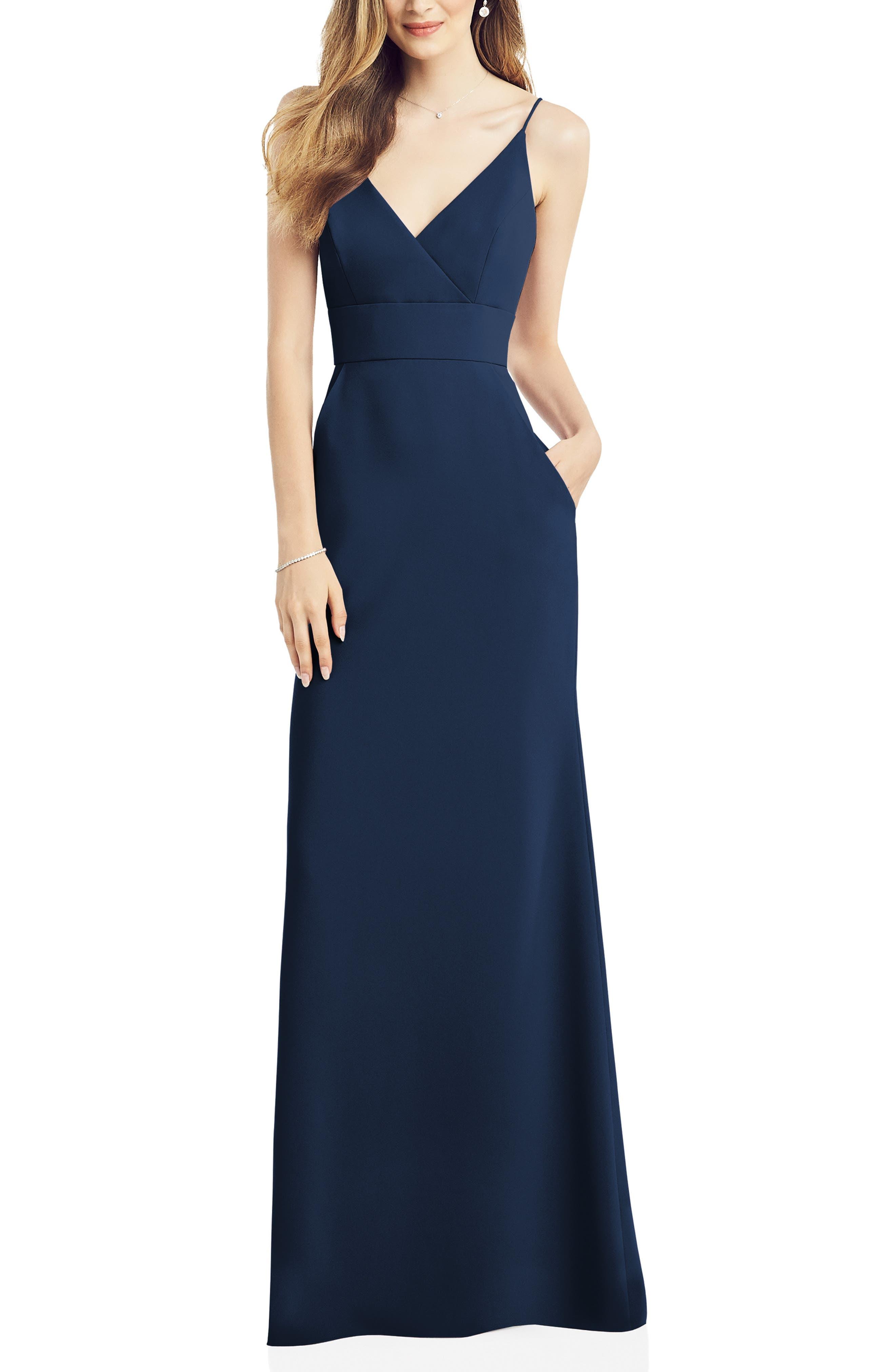 V-Neck Crepe Gown