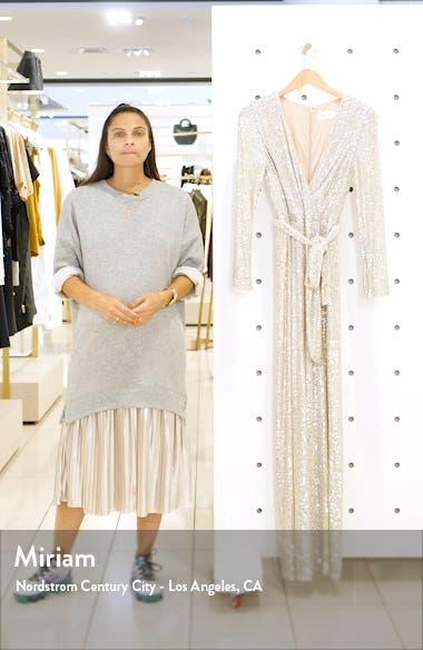 Sequin Wrap Front Long Sleeve Jumpsuit, sales video thumbnail