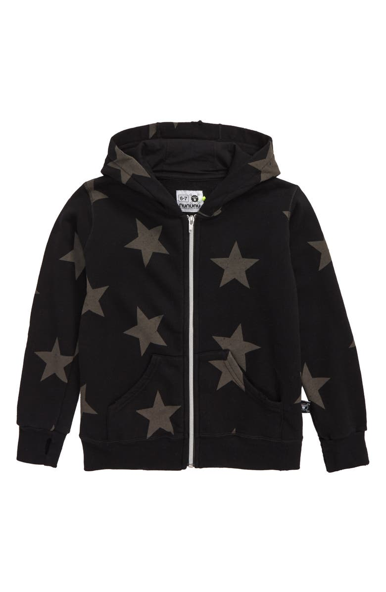 NUNUNU Star Zip Hooded Sweatshirt, Main, color, BLACK