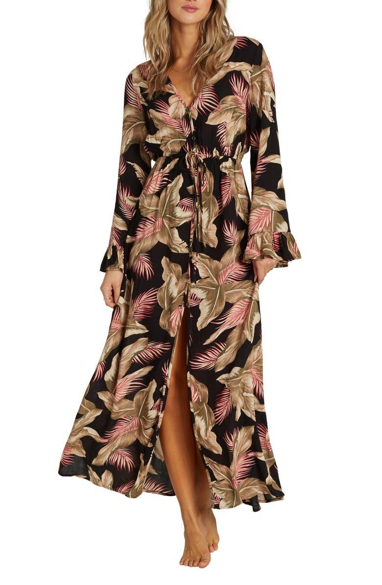 BILLABONG Valletta Long Sleeve Maxi Dress, Main, color, BLACK