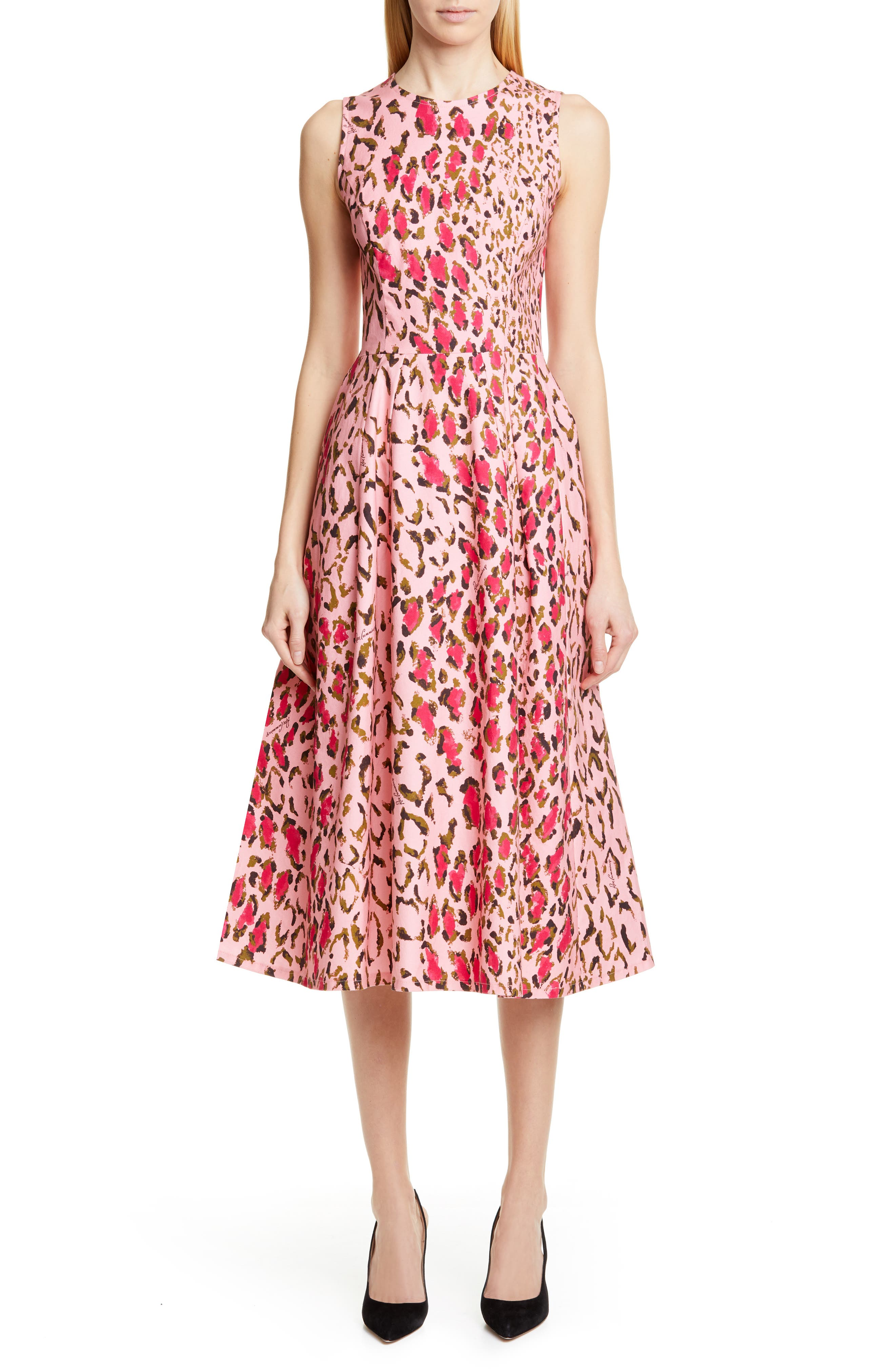 Carolina Herrera Leopard A-Line Midi Dress, Pink