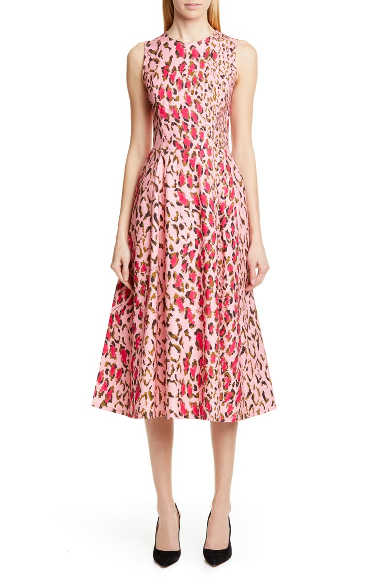 CAROLINA HERRERA Leopard A-Line Midi Dress, Main, color, 687