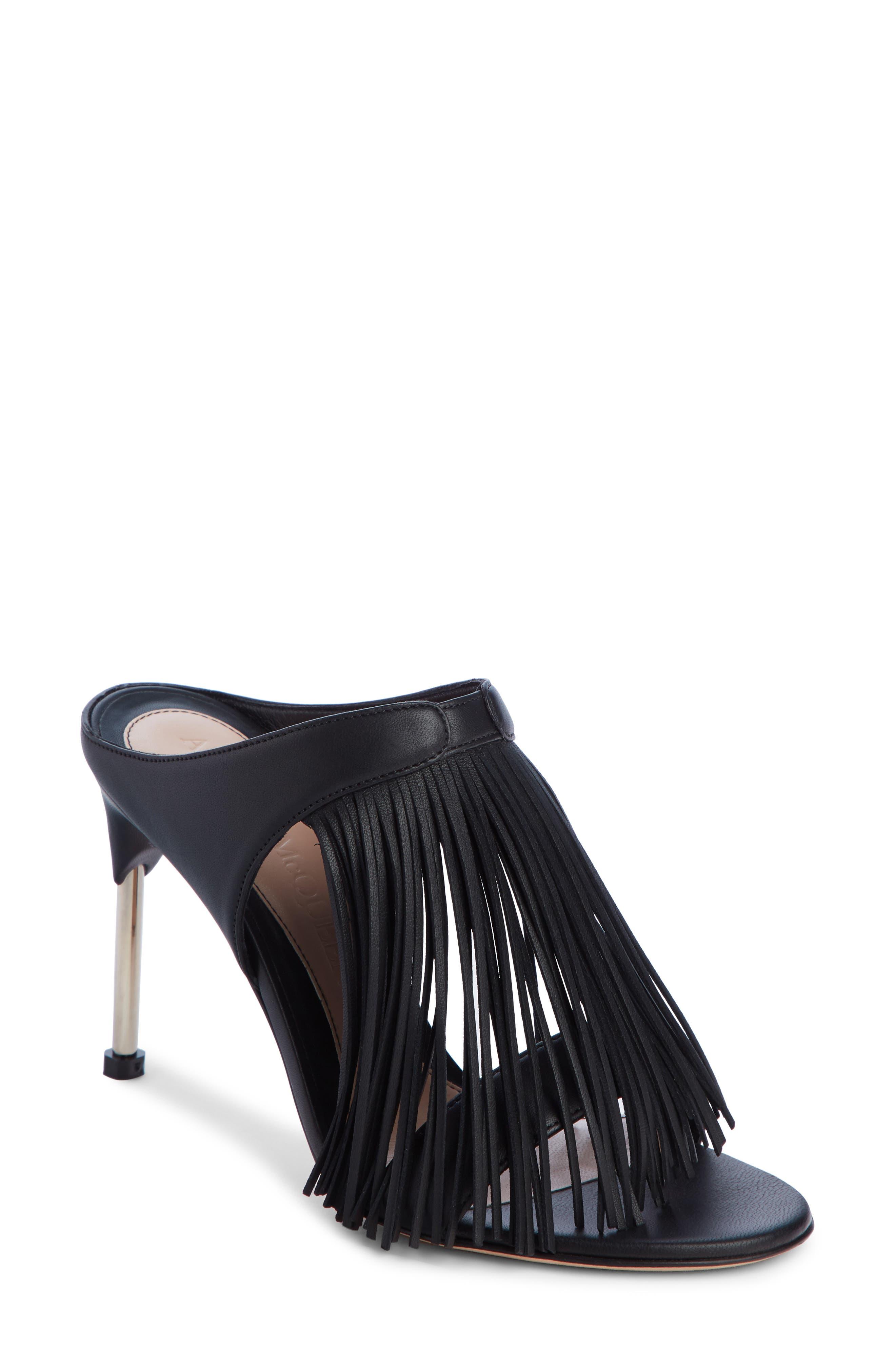 Fringe Sandal, Main, color, BLACK