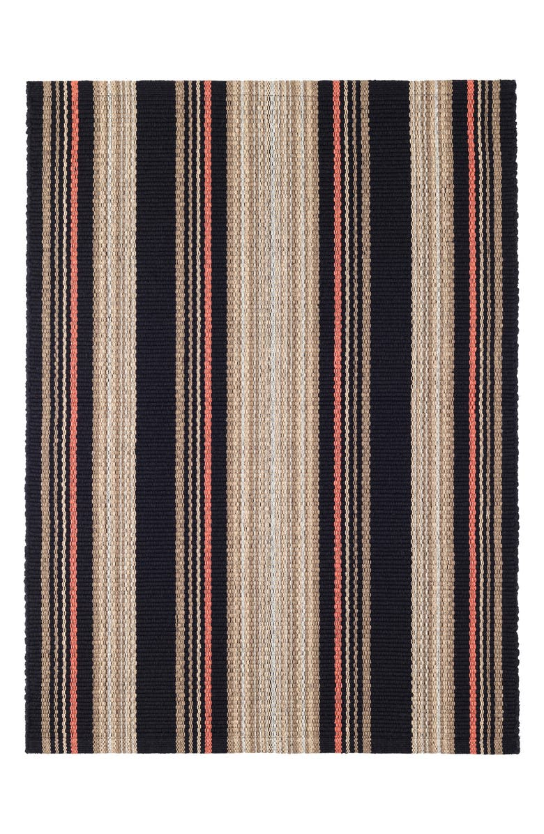 DASH & ALBERT Dakota Stripe Woven Cotton Rug, Main, color, BLACK MULTI