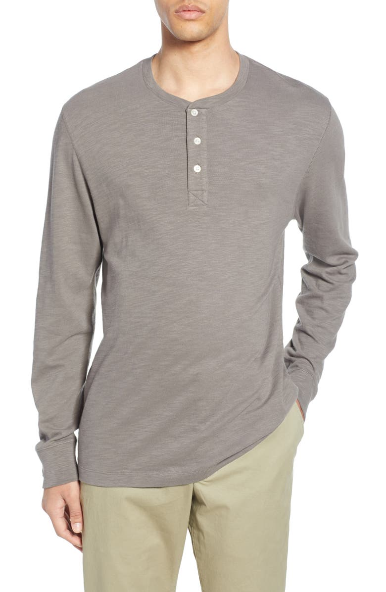 FRENCH CONNECTION Slubbed Long Sleeve Henley, Main, color, BRUSHED NICKEL
