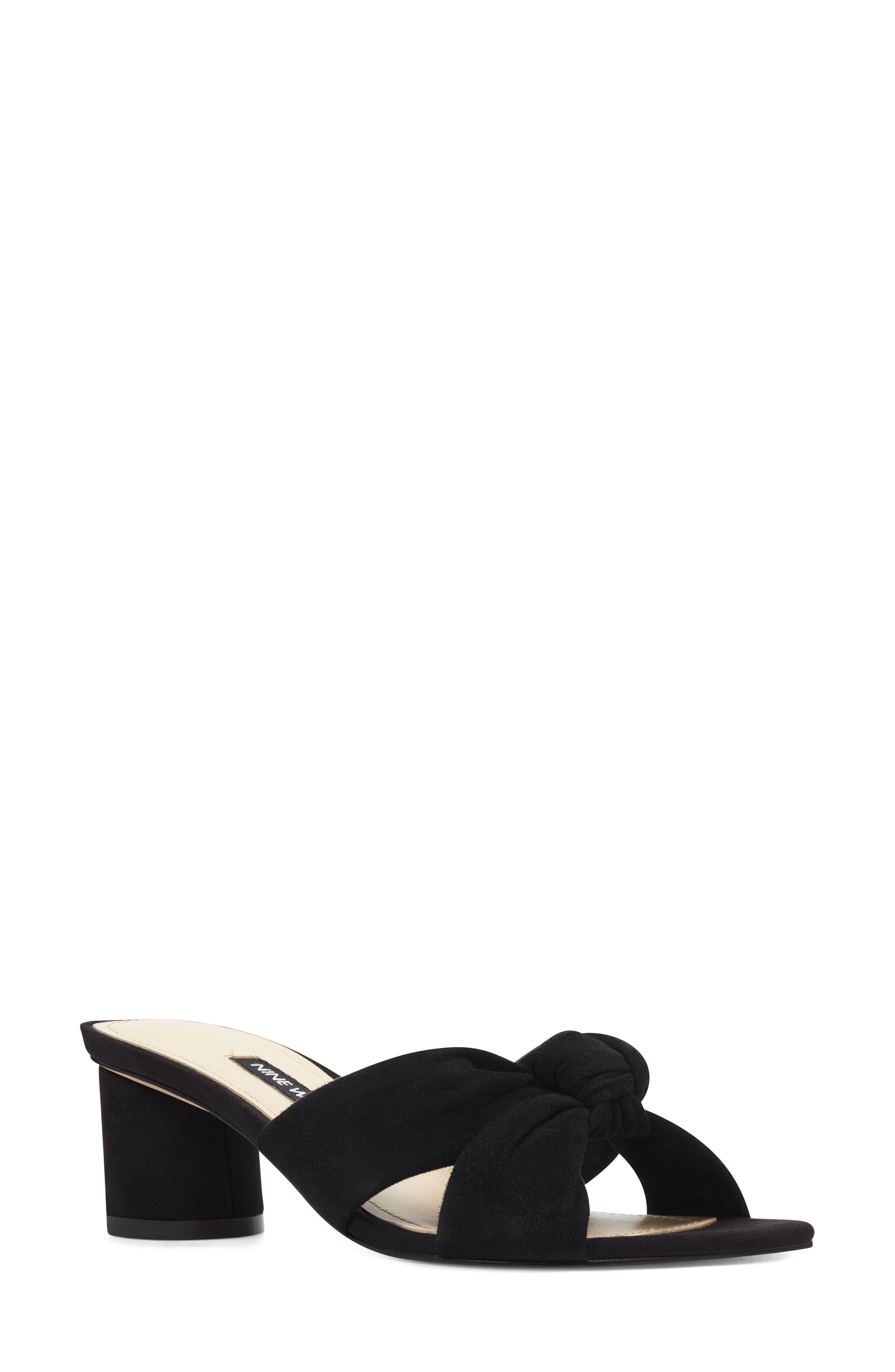 ,                             Kayla Knot Slip-On Sandal,                             Main thumbnail 1, color,                             BLACK SUEDE