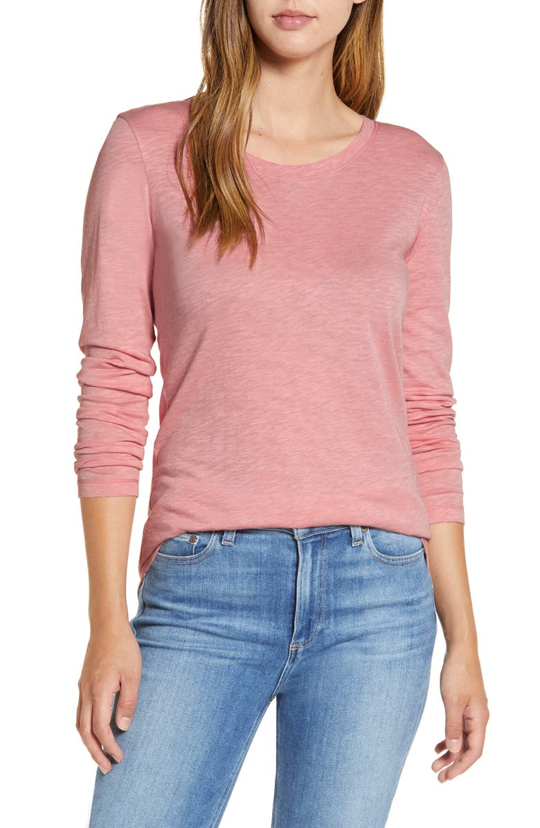 CASLON<SUP>®</SUP> Long Sleeve Crewneck T-Shirt, Main, color, PINK BRIDE